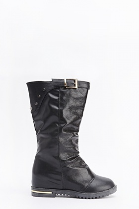 Back Studded Contrast Black Boots