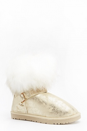 Metallic Faux Fur Ankle Boots