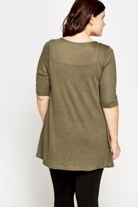 A-Line Cropped Sleeve Top