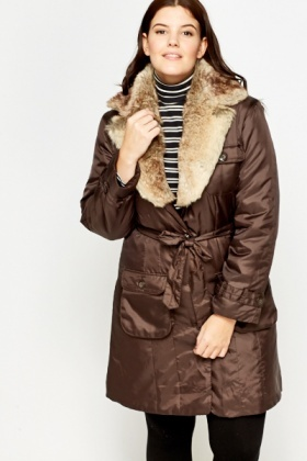 Brown Faux Fur Collar Puffer Coat