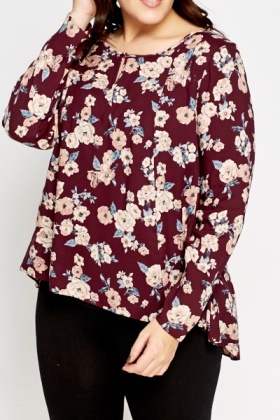 Burgundy Floral Swing Top