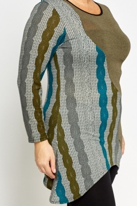 Cable Knit Printed Tunic