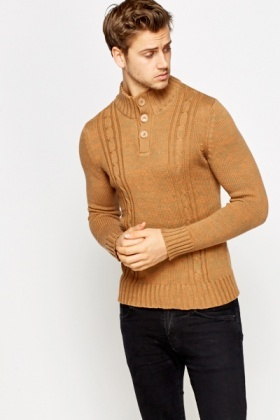 Khaki Button Neck Jumper