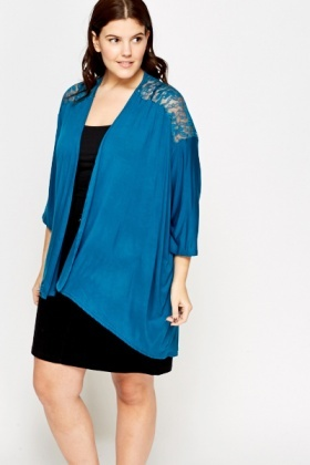Lace Insert Shoulder Open Cardigan