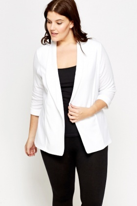 Lapel White Cardigan