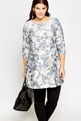 Longline Metallic Floral Top