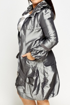 Metallic Ruffled Parker Coat