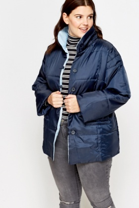 Navy Sky Blue Quilted Coat