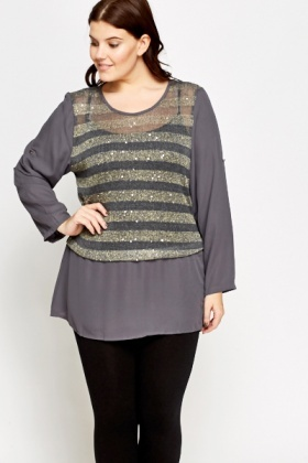 Sequin Stripe Insert Contrast Top