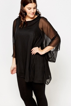 Sheer Overlay Asymmetric Top