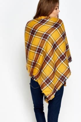 Checked Mustard Scarf Wrap