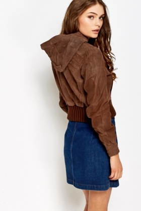 Chocolate Waxed Effect Bomber Jacket
