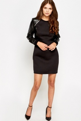 Faux Leather Sleeve Detail Dress