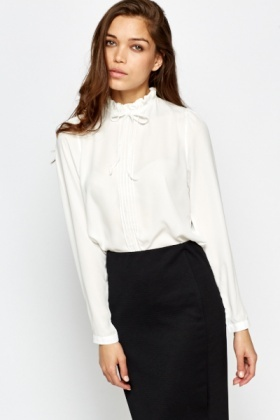Funnel Ruffled Neck Blouse