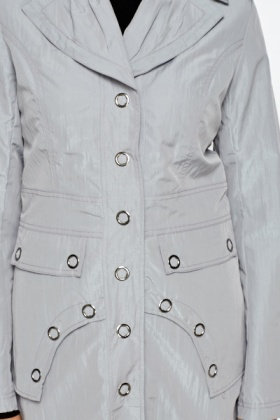 Grey Button Front Long Coat