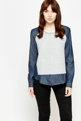 Quilted Front Shirt Insert Top