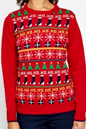 Contrast Knit Front Christmas Jumper