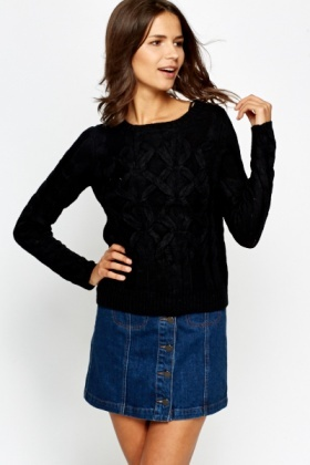 Crossover Knit Ribbed Jumper