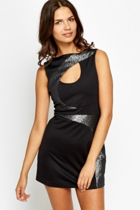 Metallic Insert Cut Out Mini Dress