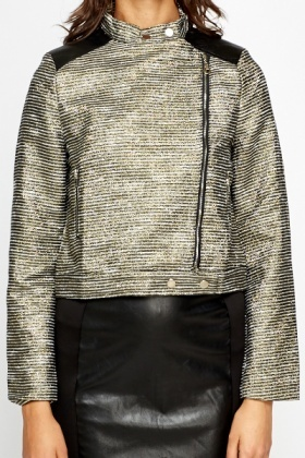 Metallic Stripe Side Zip Jacket