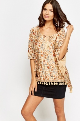 Patterned Tie Up Suedette Poncho Top