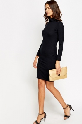 Roll Neck Midi Bodycon Dress