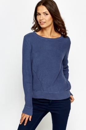 Round Ribbed Neck Jumper