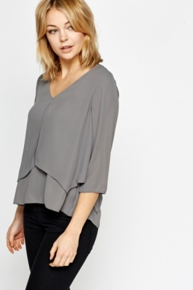 Asymmetric Layered Grey Blouse