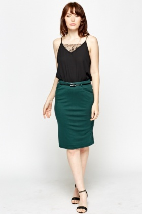 Belted Pencil Skirt