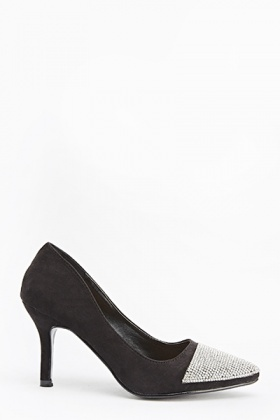 Black Encrusted Toe Court Heels