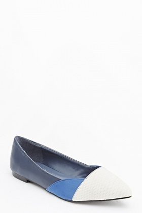 Contrast Pointed Mock Croc Flats