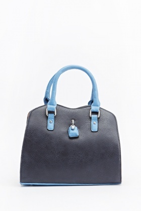 Contrast Trim Faux Leather Bag