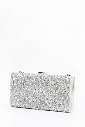 cheapest sale terrific value unparalleled Dark Silver Box Clutch Bag