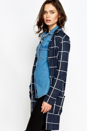 Grid Check Long Jacket