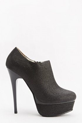 High Lurex Ankle Heeled Boots