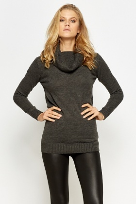 Long Heavy Knit Roll Neck Jumper