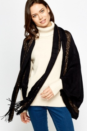 Metallic Stripe Tie Up Poncho