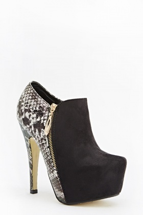 Mock Croc Back Heeled Boots