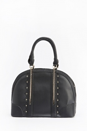 Mock Croc Studded Bowler Bag