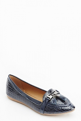 Mock Crock Pointed Loafers