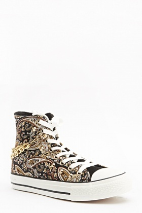 Paisley Chain Hi-Top Trainers