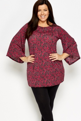 Purple Batwing Sleeves Tunic