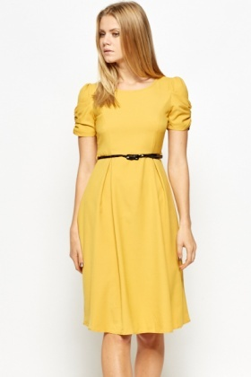 Ruched Sleeve Belted Dress