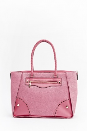 Stitch Detail Faux Leather Handbag