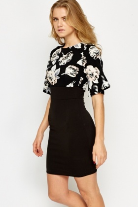 Bell Sleeve Floral Contrast Dress