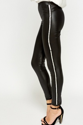 Contrast Side Black Leggings