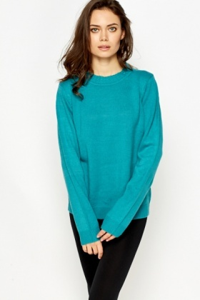 Contrast Textured Funnel Neck Jumper