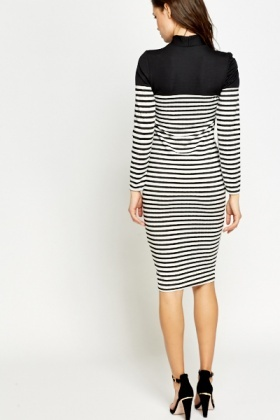 High Neck Mono Striped Dress