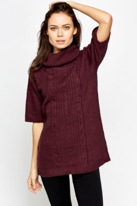 Longline Cropped Sleeve Roll Neck Jumper
