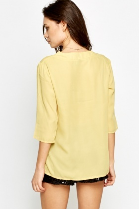 Mustard V-Neck Casual Blouse